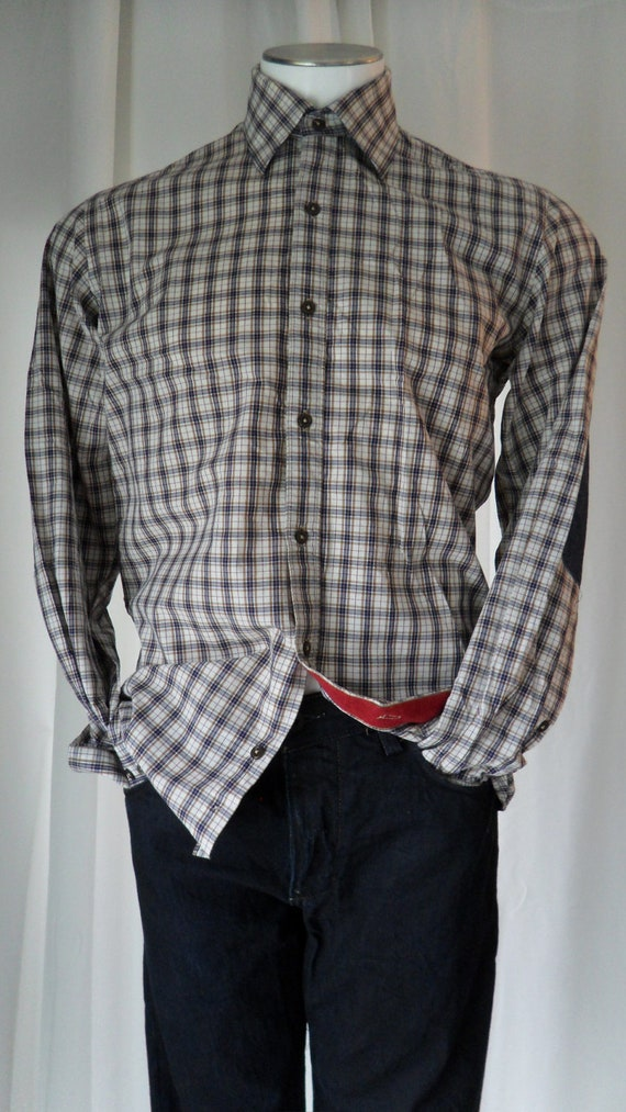 Hipster couture- BORGO OGNISSANTI 28 (ITALY) Men's elbow patch retro plaid shirt :size medium