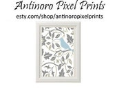 FREE SHIPPING Spring Yellow Bird Vintage Modern inspire Art Print - Blue Grey 8x11 Print (Unframed)