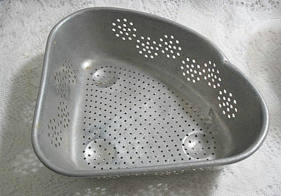Primitive kitchen strainer for sink vintage aluminum 1940s country farm