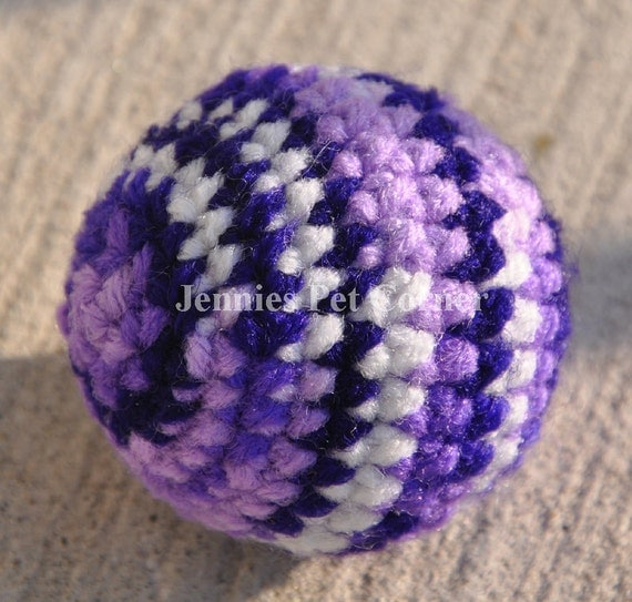 Purples Color Hand Crocheted Kitty Jingle Ball Cat Toy Unique Cat Toys Crochet Cat Toy