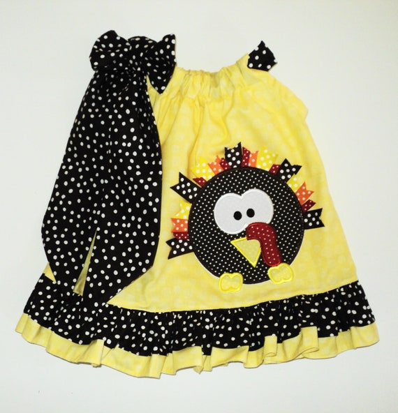 Custom Boutique Thanksgiving Turkey Pillow Case Dress Sizes 0-6 mo, 6-12mo, 12-18mo, 18-24mo, 2t, 3t, 4t, 5/6, 7/8