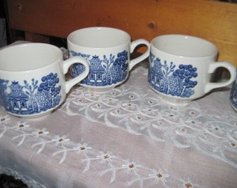 Set of  4  CUP Willow Ware Blue  Cups Made in England :)   Sale CLEARINGOUT25  must be used at checkout
