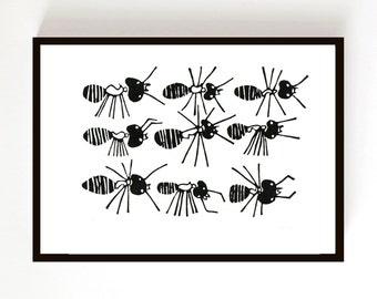 Lino Print - Ants