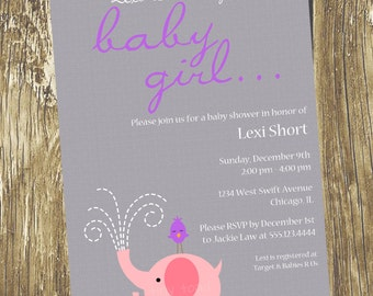 Mama and Baby Elephants Baby Girl Shower Invitations - (Baby Girl), DIY Printable, digital file (item 1079)