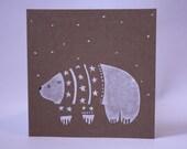 Polar Bear Christmas Card 135mm x 135mm
