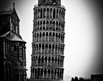 Leaning Tower of Pisa, Italy, historical architecture, black and white, 11 x 14 photograph
