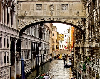 Bridge of Sighs in Venice Italy, European architecture, 11 x 14 photograph