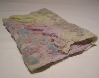 Nuno Felted Frill Silk Clutch Bag, Handbag, Case, Wet Felted, Rainbow, Texture small felt bag