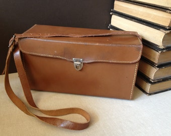 Vtg Diamond Leather Camera Bag // Case // Crossbody