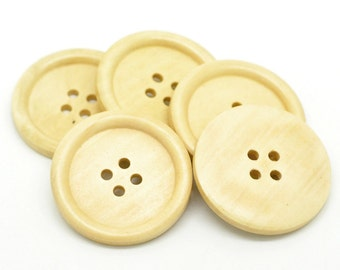 5 Large Natural Off White Wooden Button - 40mm - Wood Buttons