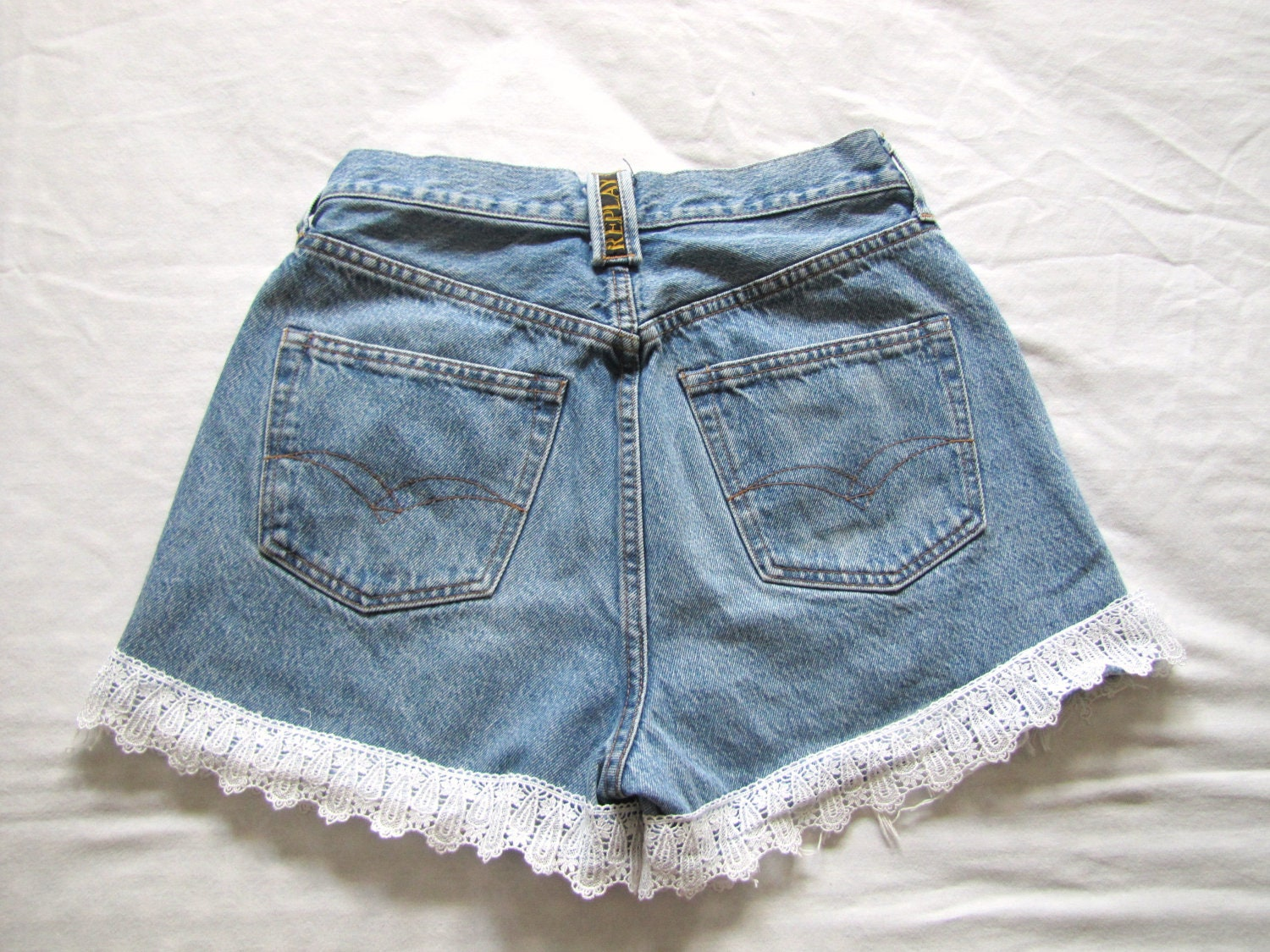 Lace Trimmed High Waisted Shorts