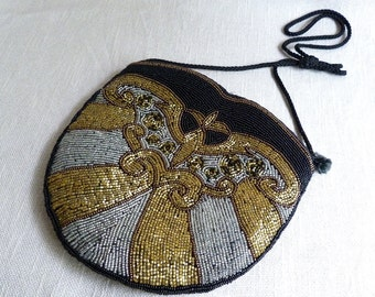 Black Gold Silver Beaded Ladies Purse - Magid Woman's Evening Cocktail Purse