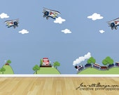Train and Airplanes Fabric Wall Decal Set