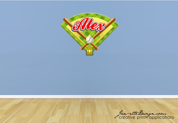 Sports Wall Decal,Baseball theme name wall decal,Removable and Repositionable fabric decal
