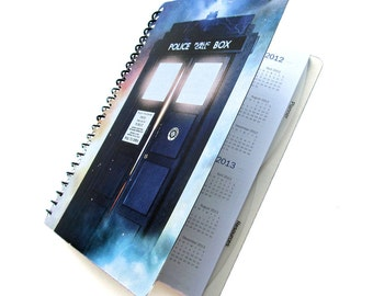 TARDIS 2017 Daily Planner Dr. Who UpCycled Academic Student Agenda The Doctor Graduation Gift