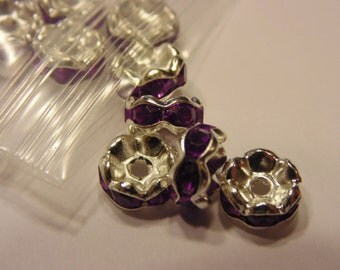 10 silver plated fusia / purple color rondelle spacer beads, 8 mm