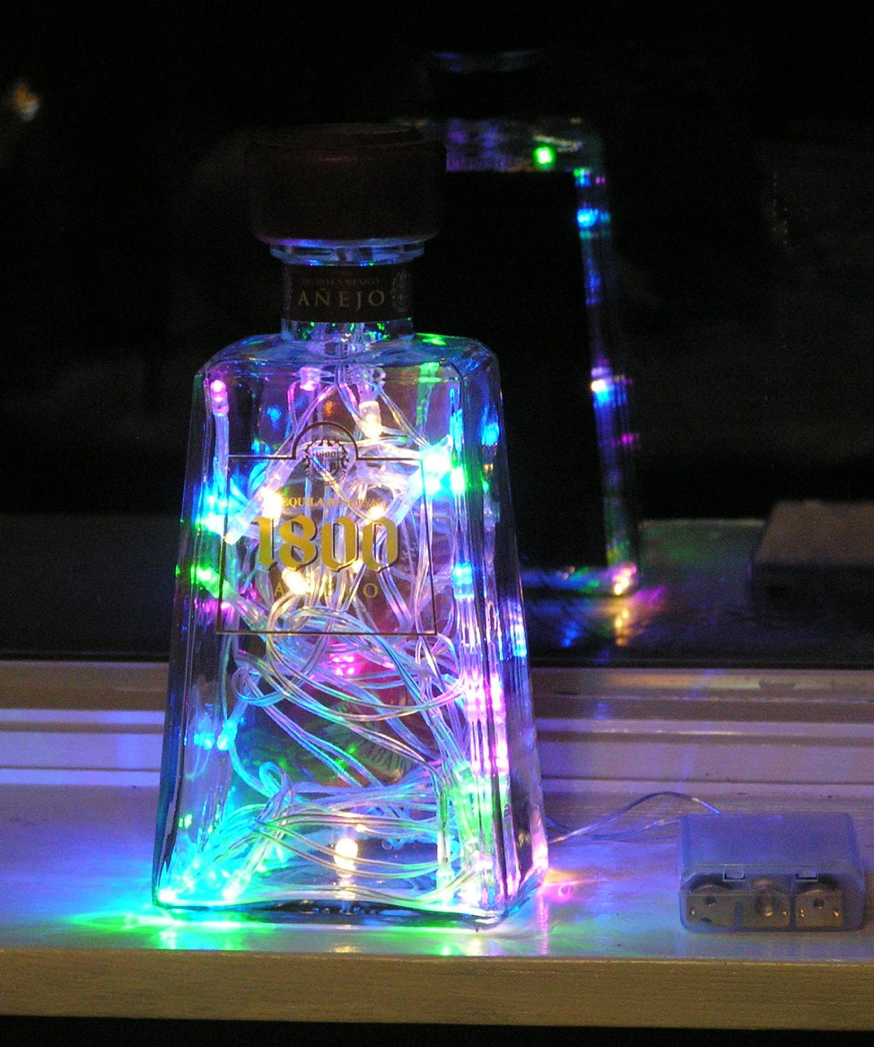 Clear Liquor Bottle Light With Multi Colored Pastel Led Lights