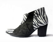 Ankle boots - Handmade animal print booties with decorative laces - Made to order - 30% OFF