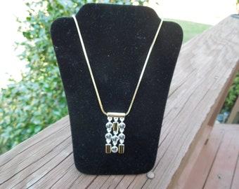 Vintage Napier Necklace with Pendant.  Gold Toned Necklace, Gold Toned and Silver Toned Pendant