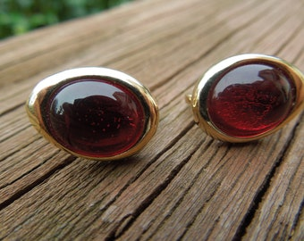 Vintage Avon Earrings, Gold Toned Clip On Type with Red Bead Center.  Signed.