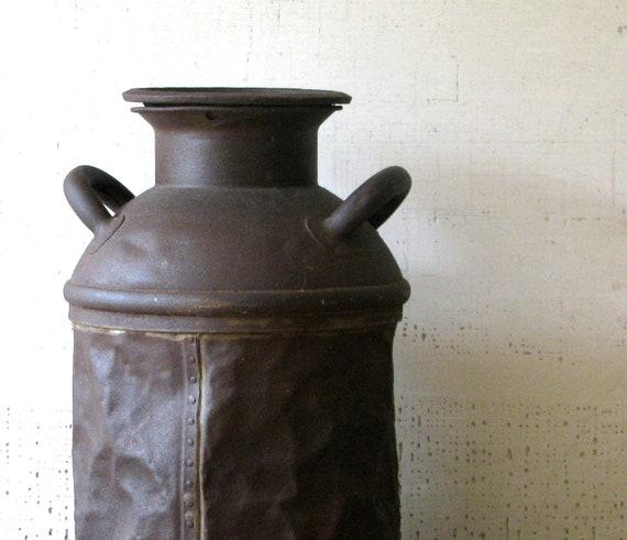 vintage milk can - urban farmhouse cool - gorgeous color/patina