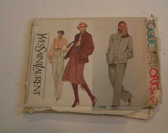 Vintage Vogue Pattern Paris Original 1749 Yves Saint Laurent Miss Jacket Blouse Skirt Pants