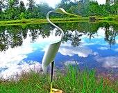 Egret shore bird PVC lawn and yard art sculpture
