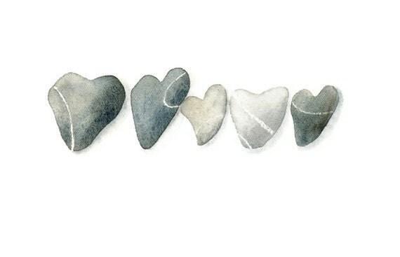 Heart Pebbles II ...   Original watercolor (already matted)