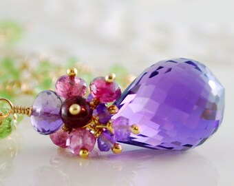 Purple Amethyst Necklace Lime Green Peridot Pink Tourmaline Pink Topaz Gold Jewelry - Violets - Complimentary Shipping