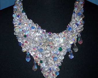 Swarovski Crystal Embroidered Necklace with Matching Clip Earrings