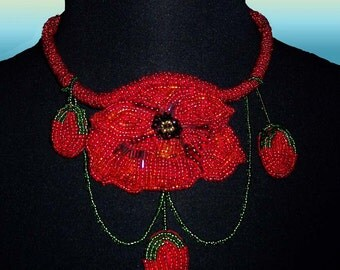 Poppy Bead Embroidered Necklace