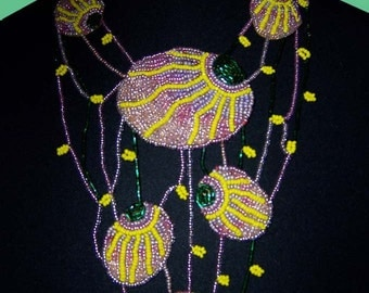 Ovals - Bead Embroidered Necklace