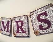 """MR and MRS """" Sign banner - Eggplant color, Purple -  Chipboard sign   - Chair Decor - Shabby chic"""