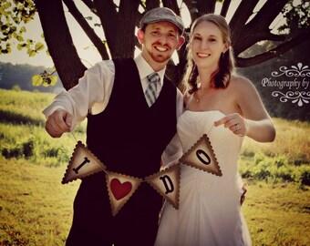 I Do - Wedding Banner Vintage /Victorian look - Kraft paper - Wedding Decoration - Garland - Bride and Groom