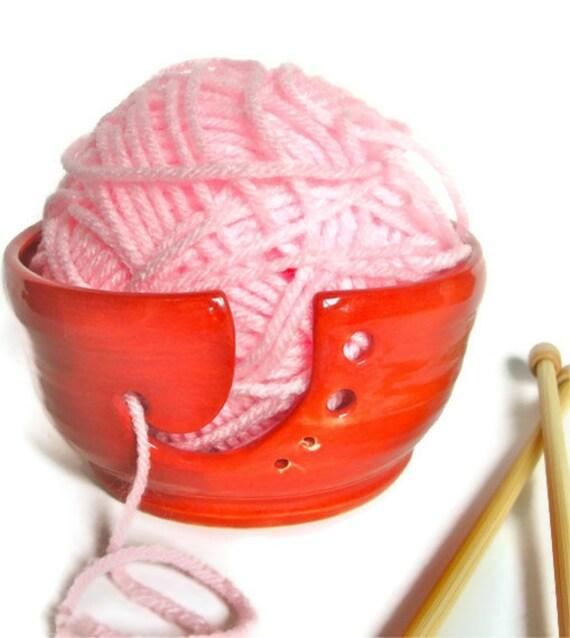 Warm Red,Yarn Bowl,Yarn Holder, Needle Holder, Ceramic Stoneware, Pottery, Gift under 40 dollars,MADE TO ORDER
