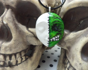 OOAK Hand Painted Half Green Monster Frankenstein Necklace