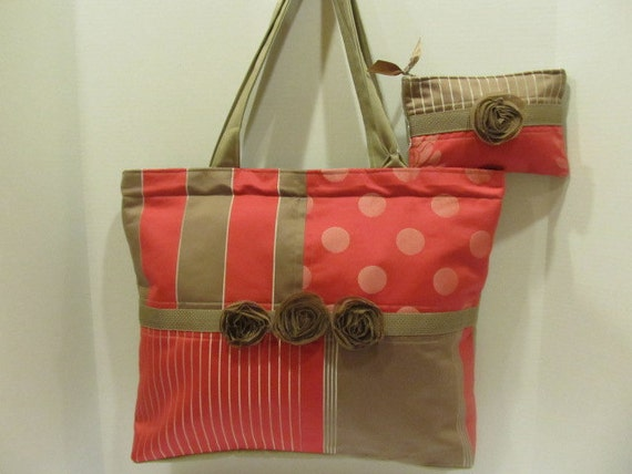 Pink and Tan Large Handbag with 3 Flowers and Matching Coin Purse