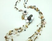 Flower brown freshwater pearl,shell hand knotted long necklace.