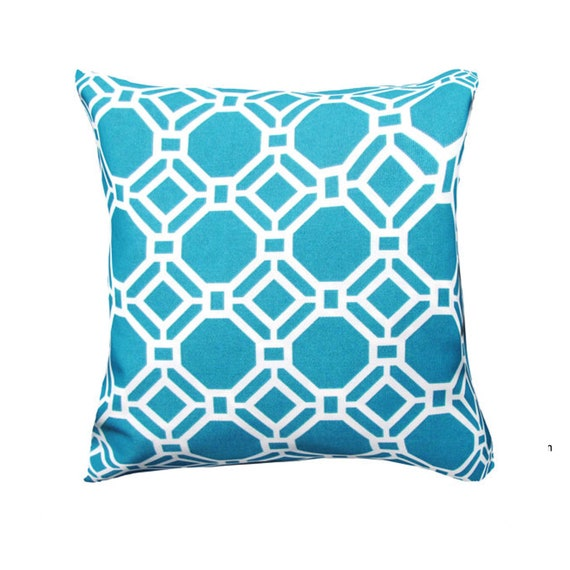 Modern Pillow Covers Etsy : Items similar to Blue Pillow Cover- Modern Pillow Cover Blue/White Geometric Shapes Accent ...