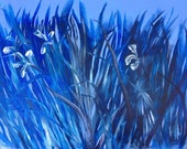 Expressive Abstract Iris Painting in a cobalt, light blue, and dark blue landscape on 24inX36in linen stretched canvas