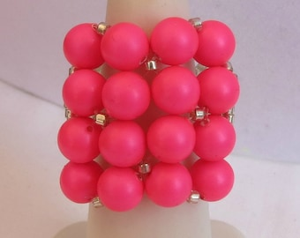 NEON PINK Pearl Square Ring