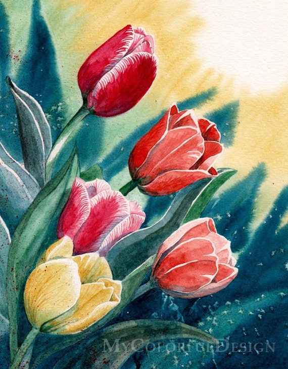 Tulips - original watercolor painitng 8x10""