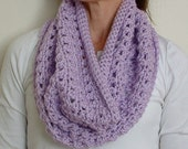 Lavender crocheted infinity scarf