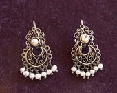 Antique Style Silver (.925) Filigree Earrings with Pearls