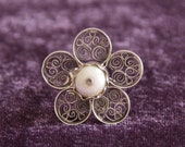 Flower Silver (.925) Adjustable Ring with Baroque Pearl Centerpiece