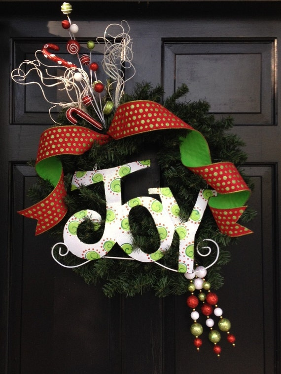 Items Similar To Christmas Wreath Joy Christmas Wreath