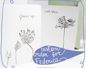 """Reserved Listing - Greeting card, birthday card with flower - the """"botanical"""" collection - """"Grow up and bloom"""""""
