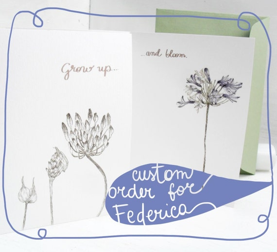 "Reserved Listing - Greeting card, birthday card with flower - the ""botanical"" collection - ""Grow up and bloom"""