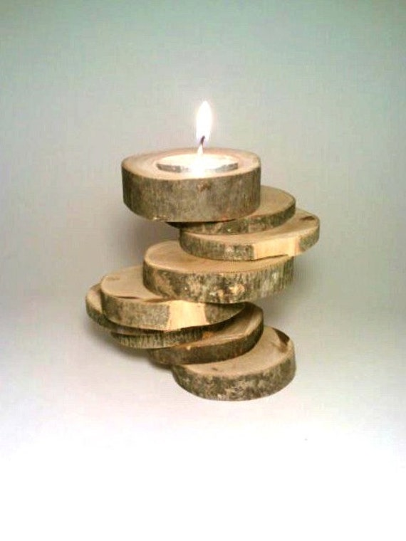 Candle holder rustic candle holder log candle holder for Log candle holder how to make