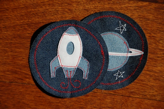 Outer space on navy iron on patch for kids clothes for Outer space clothing
